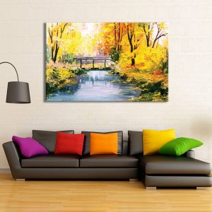 foto op canvas - kunst - bomen en rivier - 20a1
