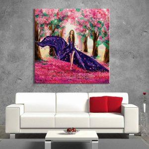 foto op canvas - kunst - vrouw in bos- 23a