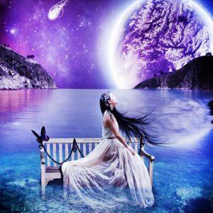 Diamond Painting Vrouw en Maan