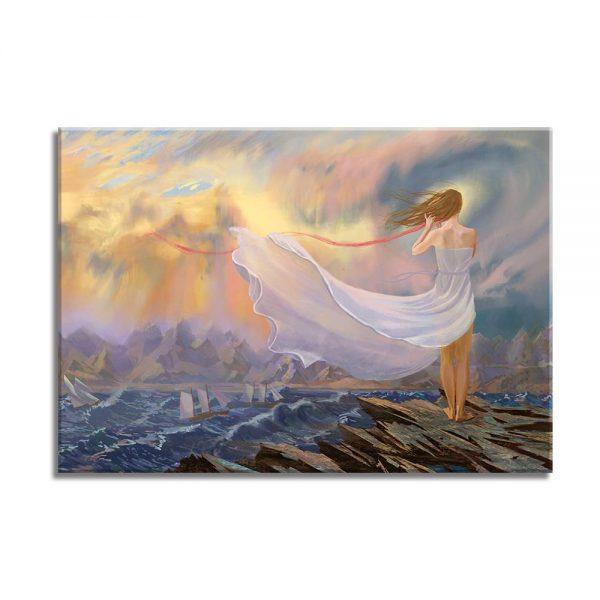 foto op canvas - kunst - zee en vrouw - 25a
