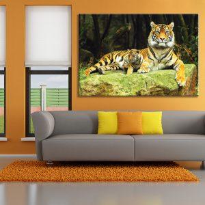 Muurdecoratie met foto op canvas van 2 tijgers