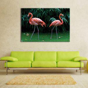 Muurdecoratie met foto op canvas van flamingo