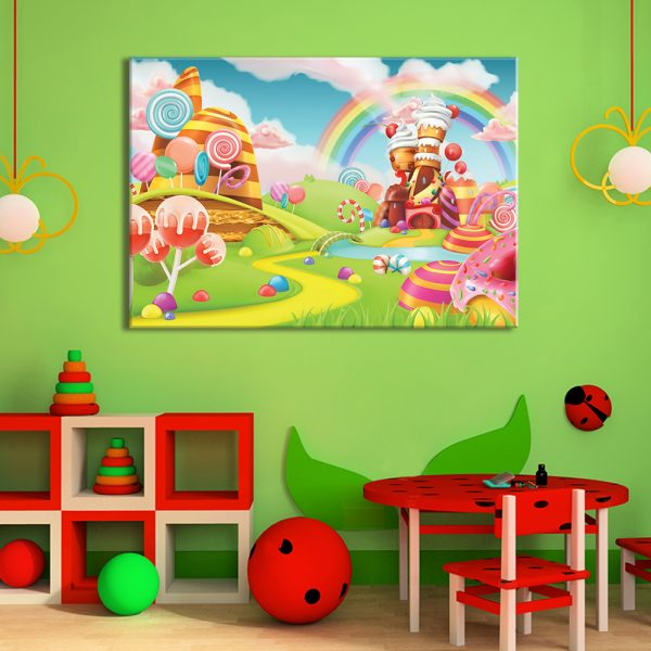Muurdecoratie van kinderkamer met foto op canvas