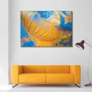 Muurdecoratie met canvas foto van water medusa