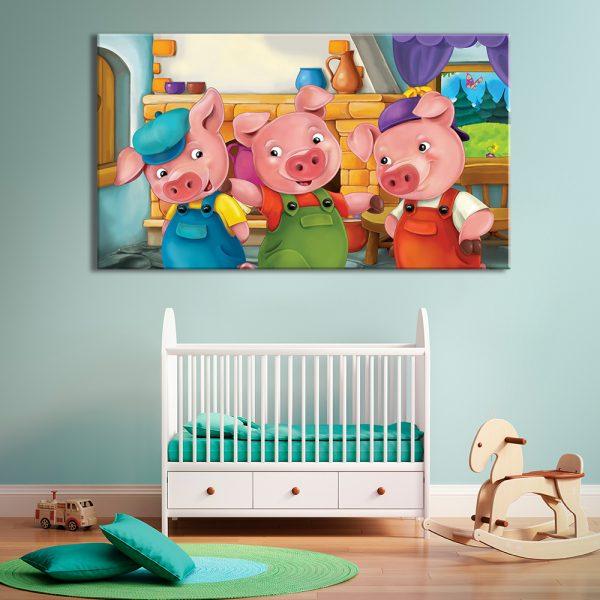 Drie varkentjes voor decoratie van kinderkamer
