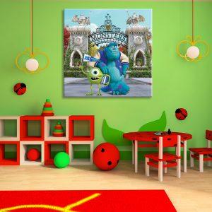 Monsters tekenfilm op canvas foto voor decoratie van kinderkamer