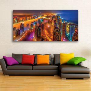 Canvas foto van nacht stad voor decoratie