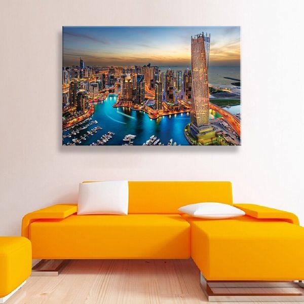 Canvas foto van een stad voor wanddecoratie