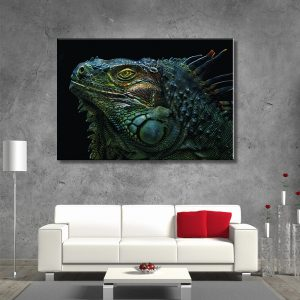 Muurdecoratie met canvas foto van reptiel