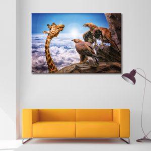 Muurdecoratie met canvas foto van giraffe en arenden