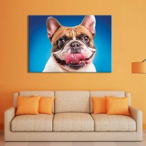 Wanddecoratie met canvas foto van hond