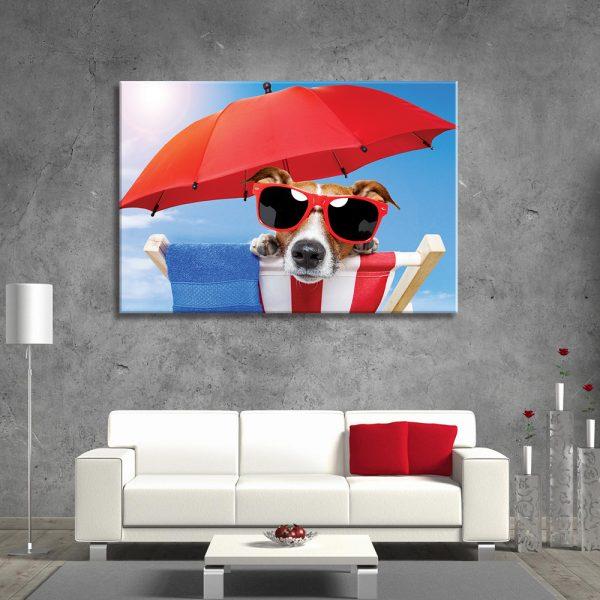Wanddecoratie van canvas foto van hond onder de paraplu