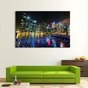 Muurdecoratie met canvas foto van nacht stad