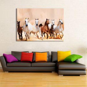 Wanddecoratie met canvas foto van paarden