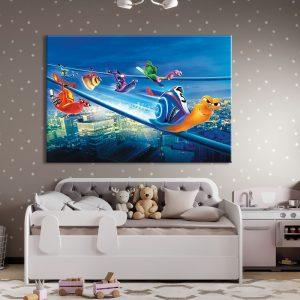 Muurdecoratie van foto op canvas met slakken van tekenfilm