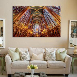 Muurdecoratie van canvas foto van binnen de kerk
