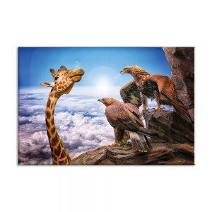 Giraffe en arenden op canvas foto