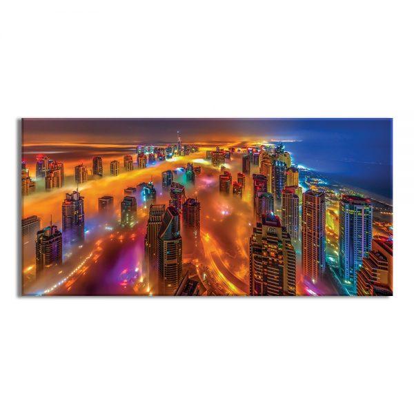Canvas foto van nacht stad