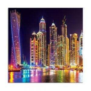 Canvas foto van kleurrijke nacht stad