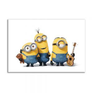 Foto op canvas voor kinderen van 3 minions